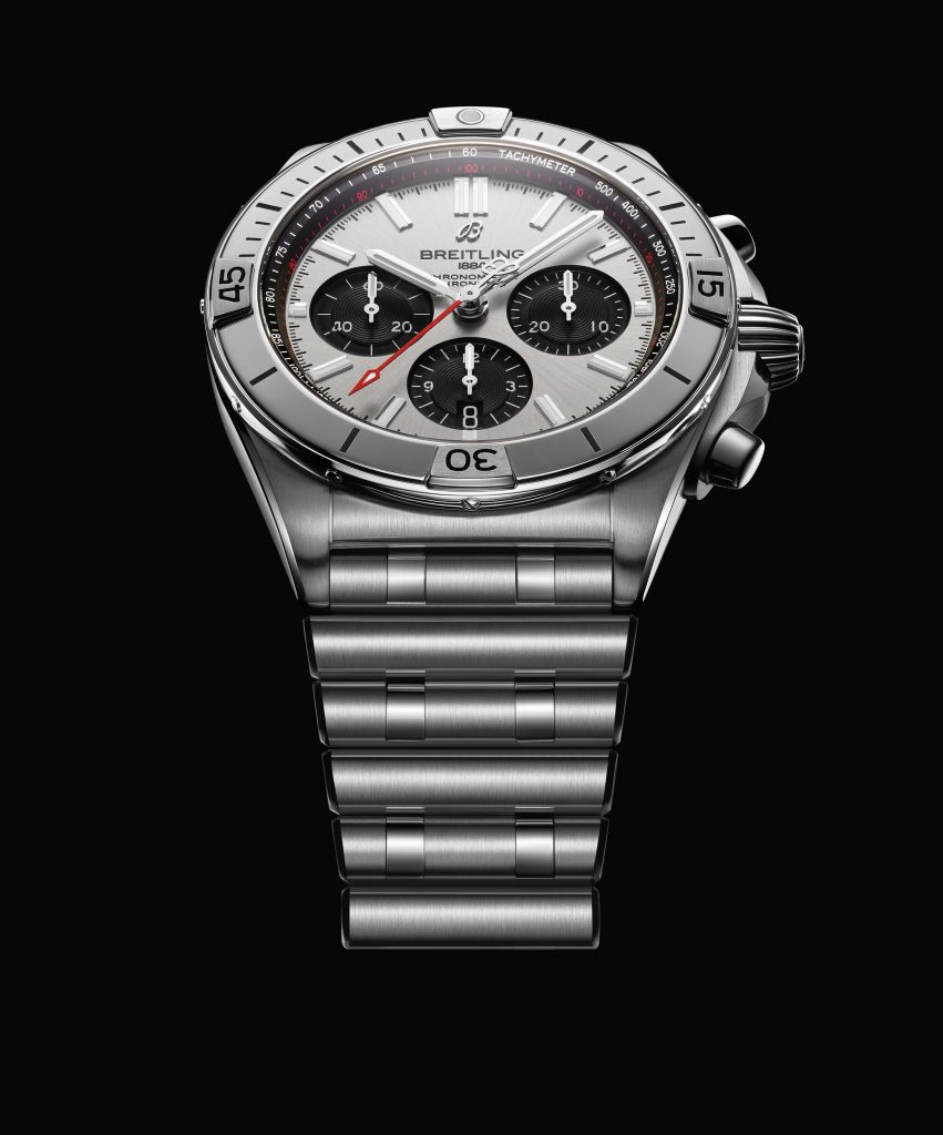 02 Chronomat B01 42 With A Silver Dial And Black Contrasting Chronograph Counters 2 851x1024