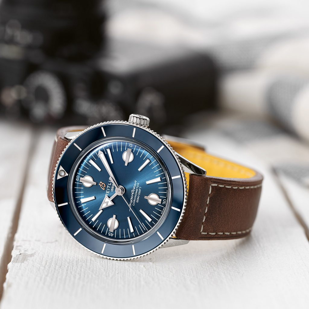 02 Superocean Heritage 57 With A Blue Dial And A Brown Vintage Inspired Leather Strap Ref A10370161c1x1 1024x1024
