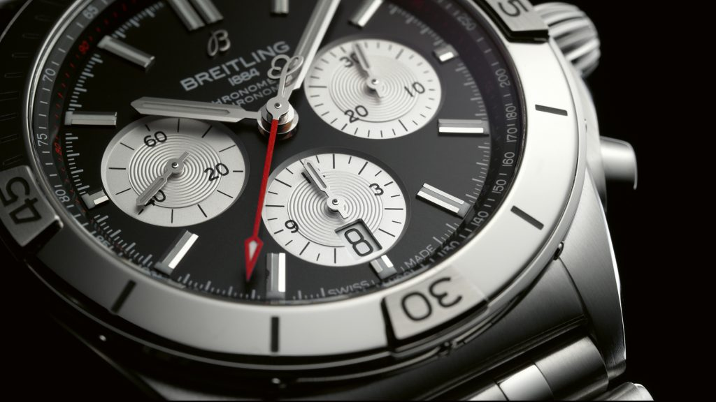 05 Chronomat B01 42 With A Black Dial And Silver Contrasting Chronograph Counters 1024x576