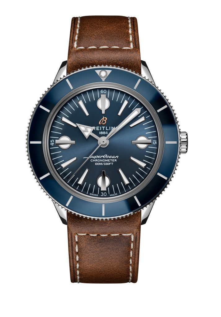06 Superocean Heritage 57 With A Blue Dial And A Brown Vintage Inspired Leather Strap Ref A10370161c1x1 713x1024