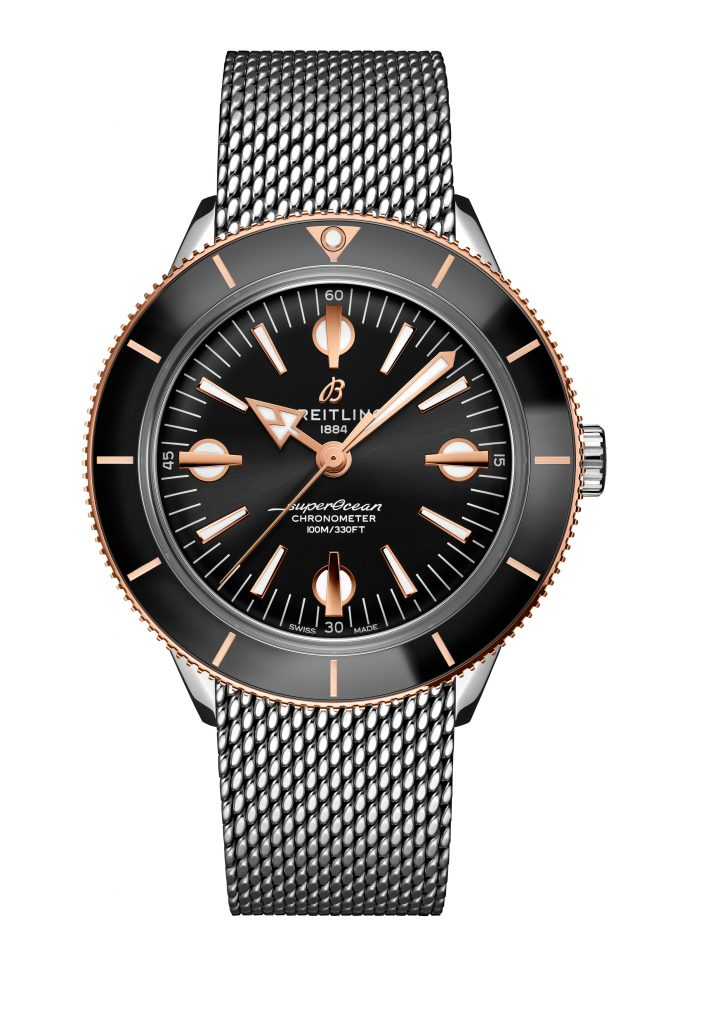 09 Two Tone Superocean Heritage 57 With A Black Dial And An Ocean Classic Stainless Steel Bracelet U10370121b1a1 713x1024