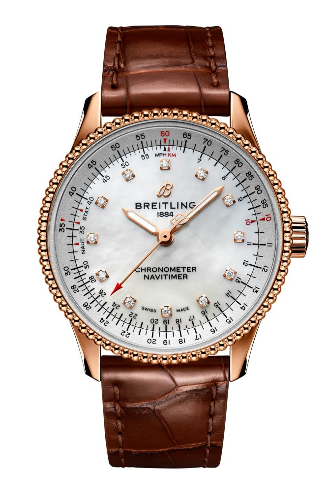 28 Navitimer Automatic 35 In 18 K Red Gold With A White Mother Of Pearl Dial With Diamond Hour Markers And A Brown Alligator Leather Strap R17395211a1p1 665x1024